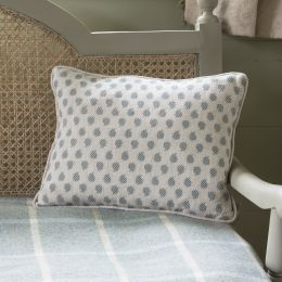 Pale grey linen cushion with blue pattern