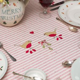 Red Stripe Robin & Rosehip Christmas Tablecloth