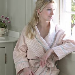 Pink brushed cotton bath robe