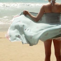 Handmade duck egg sarong in extra fine cotton