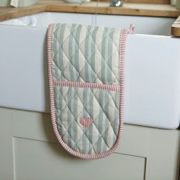 Handmade cotton oven gloves, duck egg blue embroidered red heart