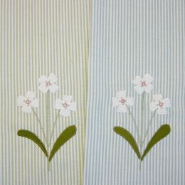 2 Hand embroidered cotton tea towels flower design on stripes