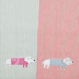 2 hand embroidered cotton tea towels with dog design, on striped fabric