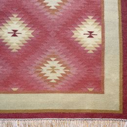 Handwoven Wool Kilim - Indian Red Shimla - Large