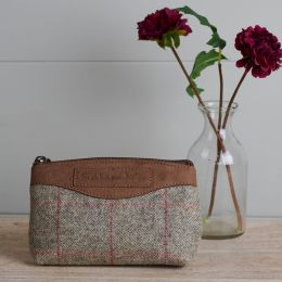 Grey Red Check Tweed Makeup Bag