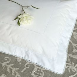 Handmade Oxford Pillowcase with lace edge.