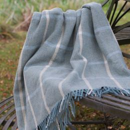 Duck Egg Ivory Check Shetland Wool Throw