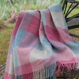 Duck Egg Rose Harlequin Shetland Wool Throw