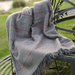 Grey Red Check Shetland Wool Throw