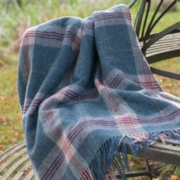Indigo Tartan Shetland Wool Throw (red stripe)