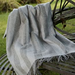 Large Grey Stripe Shetland Wool Throw
