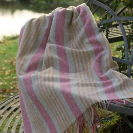 Rose Saffron Stripe Shetland Wool Throw