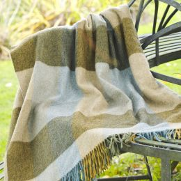 Blue Olive Harlequin Lambswool Throw