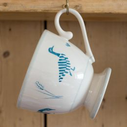 Indigo Blue Geese in the Grass Large Mug