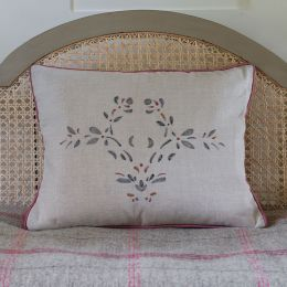 Large Embroidered Maja Linen Cushion