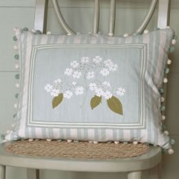 Duck Egg Lacecap Hydrangea Cushion (Framed)