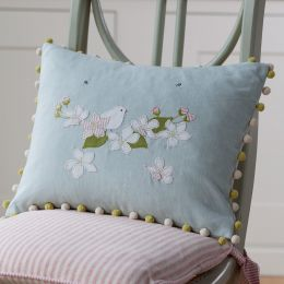 Embroidered bird & flower cushion Duck egg cotton