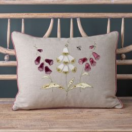 Embroidered Three Foxglove Linen Cushion