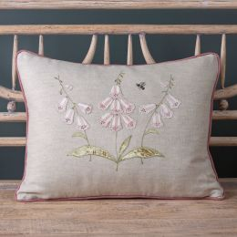 Embroidered Three White Foxglove Linen Cushion