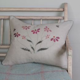 Pink & Blue Echinacea Linen Cushion