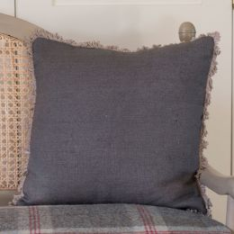 Plain Charcoal Linen Cushion