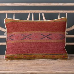 Damson Olive Stripe Kilim Cushion