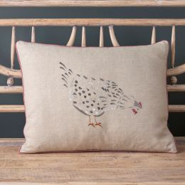 Embroidered Grey Hen Linen Cushion