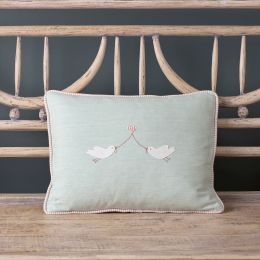 Love bird cushion cotton in Duck Egg