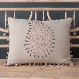 Embroidered Charcoal Malathi  Linen Cushion