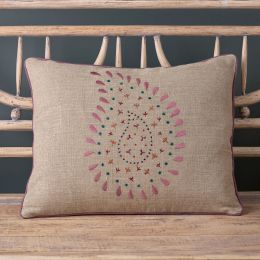 Embroidered Rose Malathi Linen Cushion
