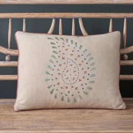 Embroidered Smokey Blue Malathi Linen Cushion