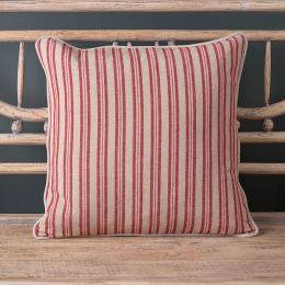 Berry Red Beech Ticking Stripe Cushion
