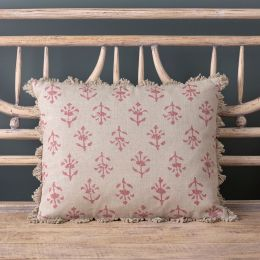 Indian Red Moonflower Linen Cushion - 40 x 35cm