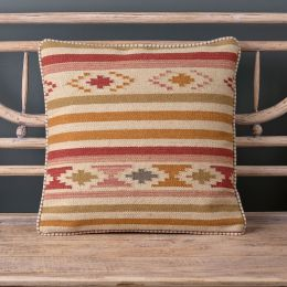 Saffron Stripe Kilim Cushion - Olive