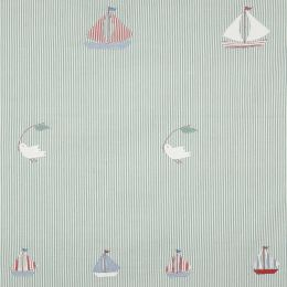 Duck Egg Bird & Boat Embroidered Panel –130