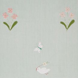 Duck Egg Bird & Flower Cotton Embroidered Panel – 128