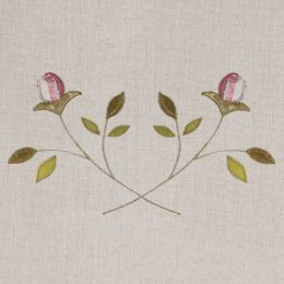 Pink Rosebud Embroidered Linen Panel – 142