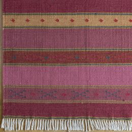 Rose Stripe Large Kilim Handwoven Wool Rug