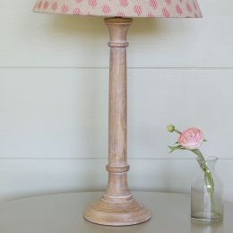 Hand-carved wooden lamp base, with a whitewash finish.