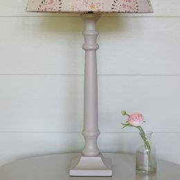 Handmade wooden stick lamp base hand-painted in grey.