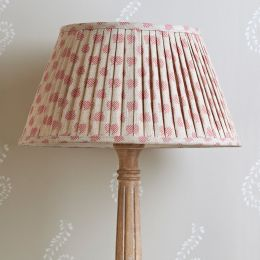 Hand-printed pleated lampshade in our Rose Red Nina fabric.