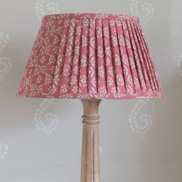 "Rose Sprig 16"" Pleated Lampshade - Dark Pink Lining"