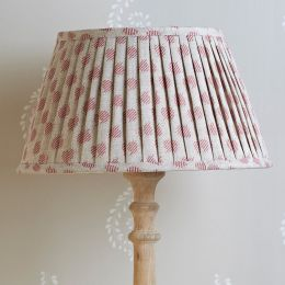 Hand-printed, pleated lampshade in our Rose Red Nina fabric.