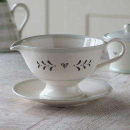 Charcoal Gustavian Sauce Boat and Saucer