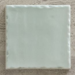 hand made and hand painted duck egg blue tile
