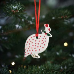 Red Spot Guinea Fowl Christmas Decoration
