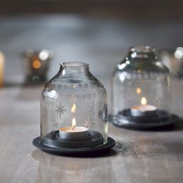 Domed Glass Candle Holder