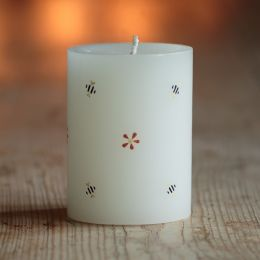 Handpainted Scented Pillar candle - Bees & Flowers 4""