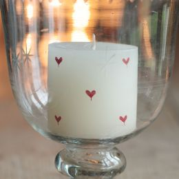 Hand-painted scented pillar candle - Red Heart 3""