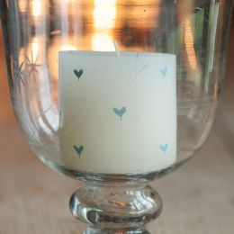 Hand-painted scented pillar candle - Blue Heart 3""